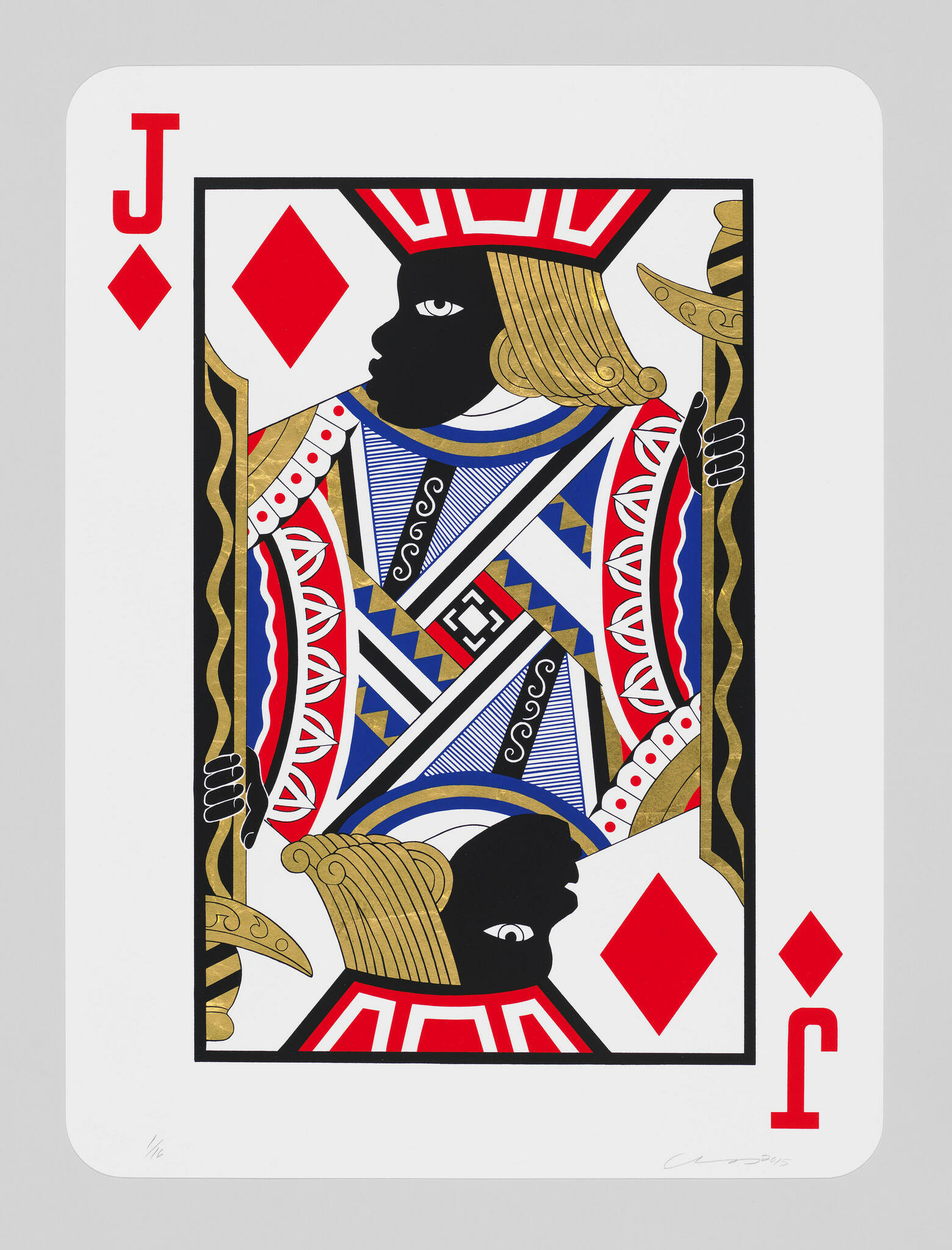 A jack of diamonds playing card depicts both jacks with black faces.