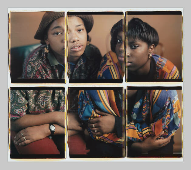 Six photographs tiled together compose a portrait of two Black women in patterned shirts, arms crossed, staring directly at the camera