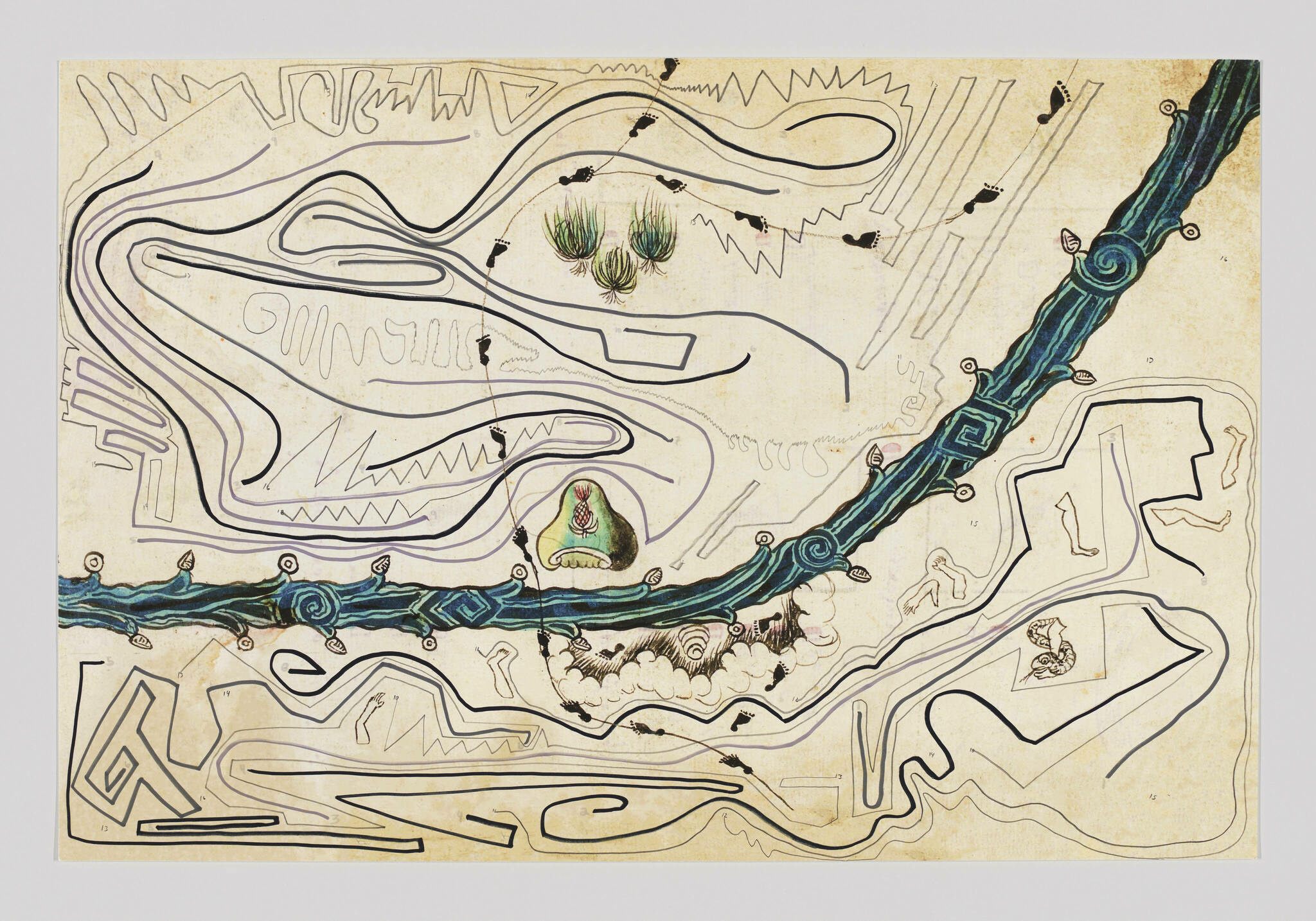 Fluid organic lines cover the entirety of this drawing. A sweeping, thicker blue line representing a river cuts across the work.