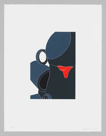 White ground with a crisp tumble of blue and dark mug-like forms ruptured by a bright red drip