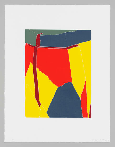Irregularly shaped blocks of primary colors join at jagged borders.