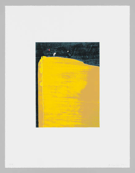 A yellow, dimensional rectangle stands vibrantly in front of a mostly-black background