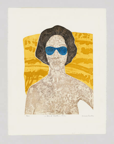 A naked woman in front of a swath of vivid yellow observes us through blue sunglasses.