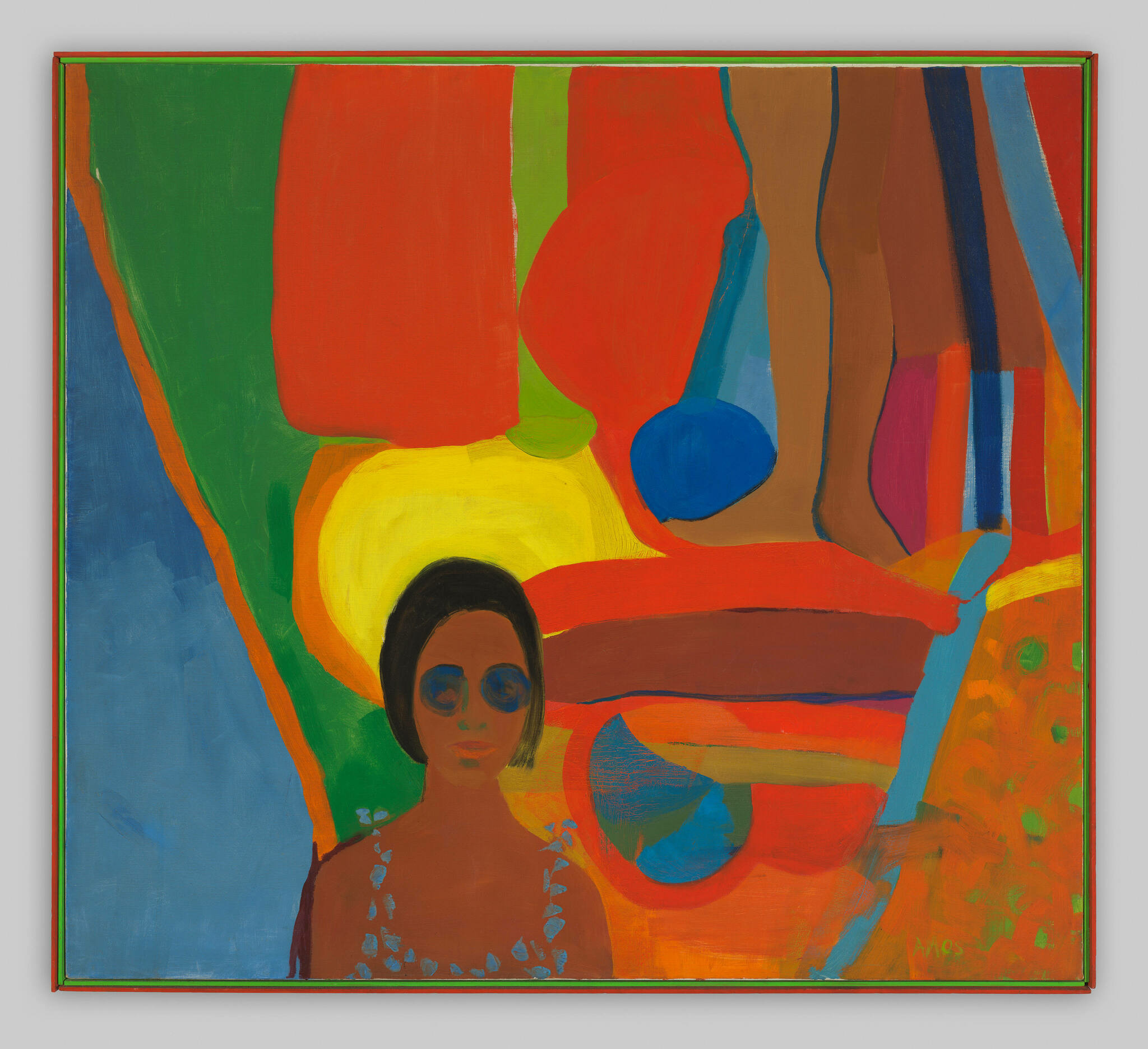 A female figure in sunglasses set against a medley of colorful abstract forms, with a pair of legs extending from above