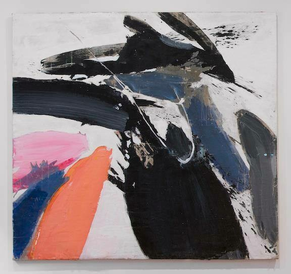 Broad swaths of black, navy, gray, orange, and pink soar across a white canvas.