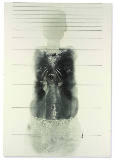 Black print of a body without arms, the torso more detailed and the head a faint silhouette.