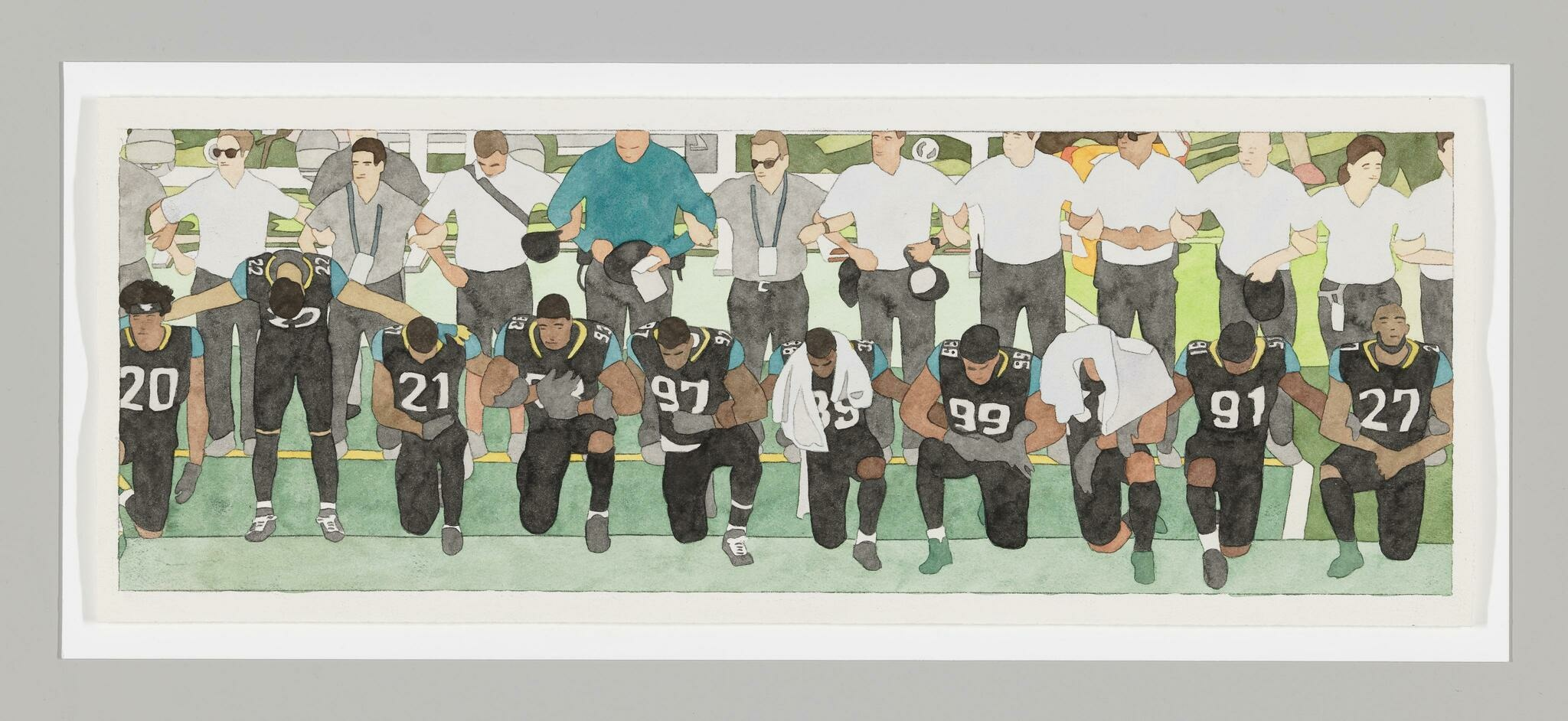 Animation still of Black football players taking a knee in front of a row of faceless white figures who remain standing
