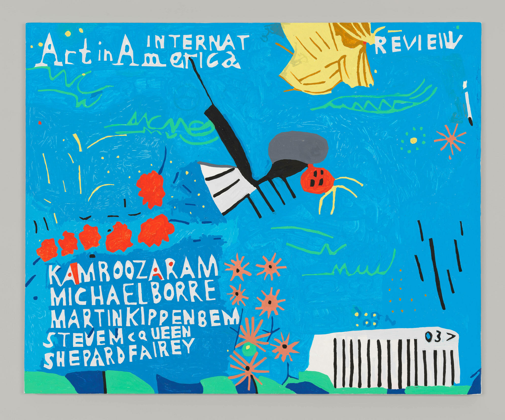 A cover of Art in America with a blue background and details abstracted into organic shapes, including gear-like orange flowers, red blobs, and curving green lines.