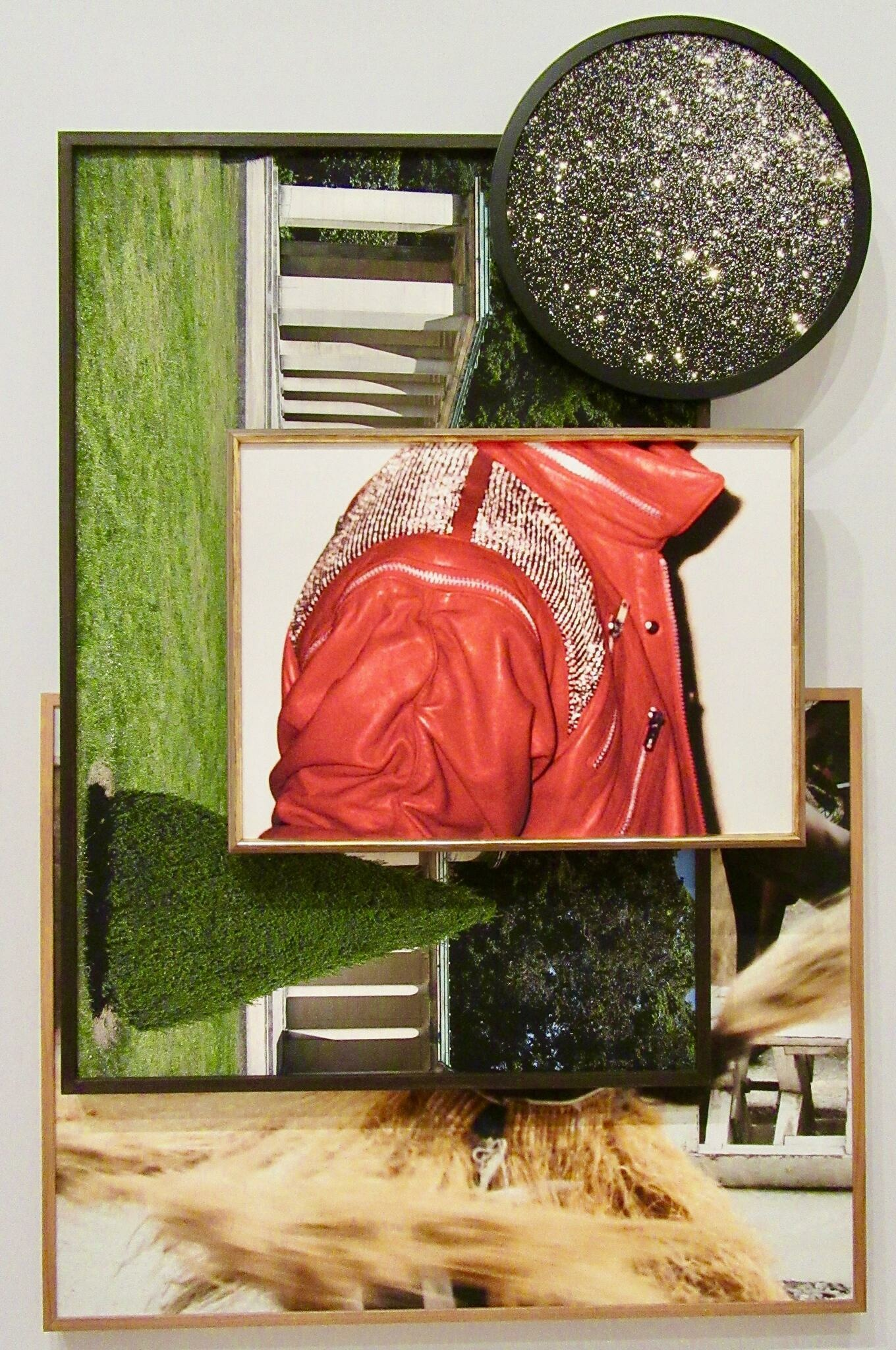 Layered framed photographs of a starry sky, a garden colonnade, an embellished red jacket, and a whirling grass skirt