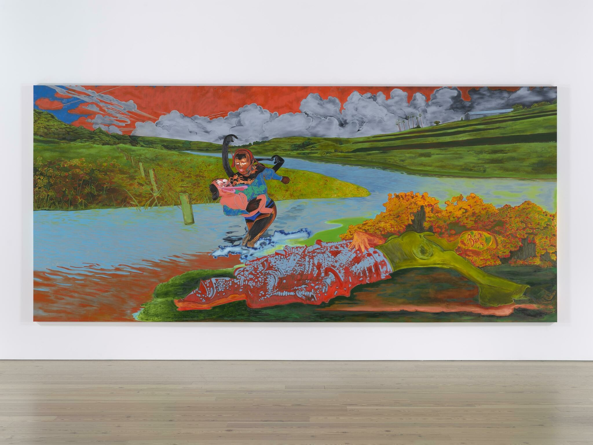 A cartoonish figure runs heroicallly through a river flowing through a saturated, neon landscape