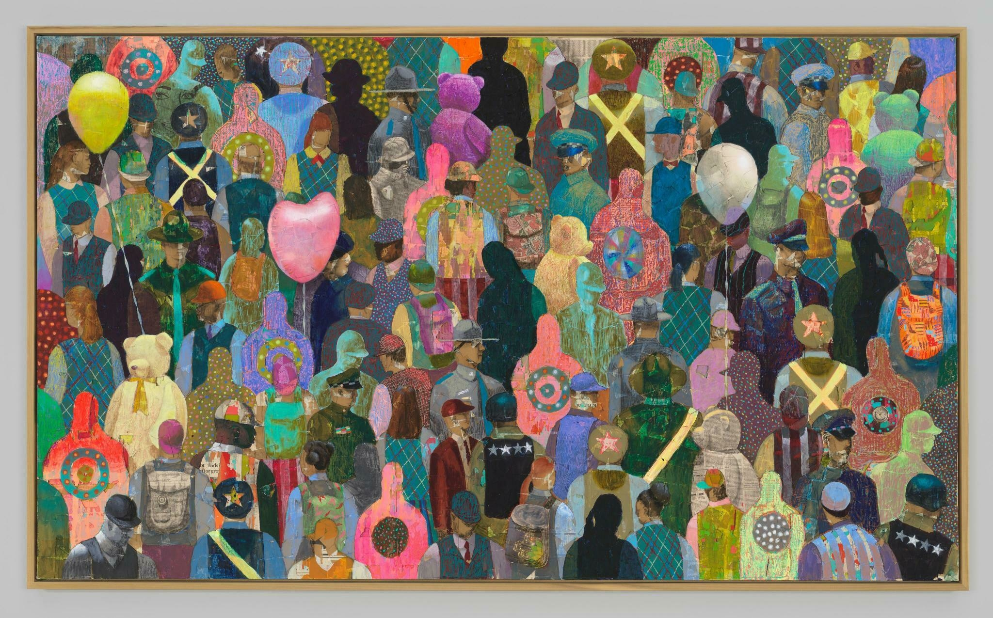A crowd of patterned figures and balloons, overlapping seemingly extending outside of the frame
