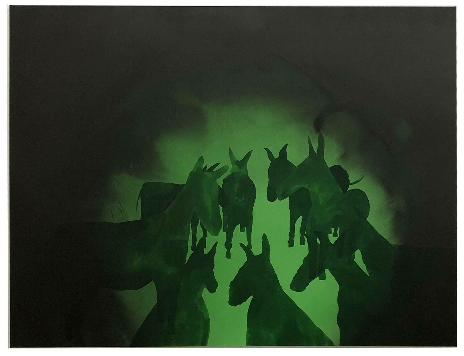 A green monochrome depiction of donkeys' silhouettes congegrated in a circle and framed by a black vingette.