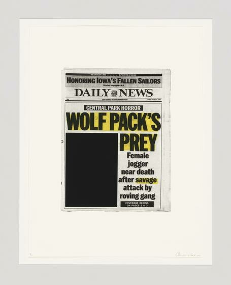 A Daily News front page newspaper clipping with a yellow highlighted headline and a blacked-out image presented on a white background.