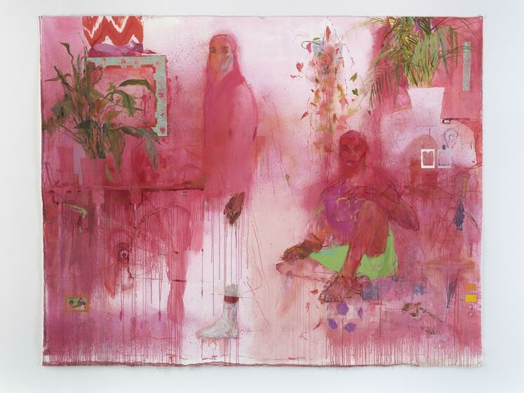Two fuzzy, magenta figures stare at the viewer as they float among plants and other hazy details.