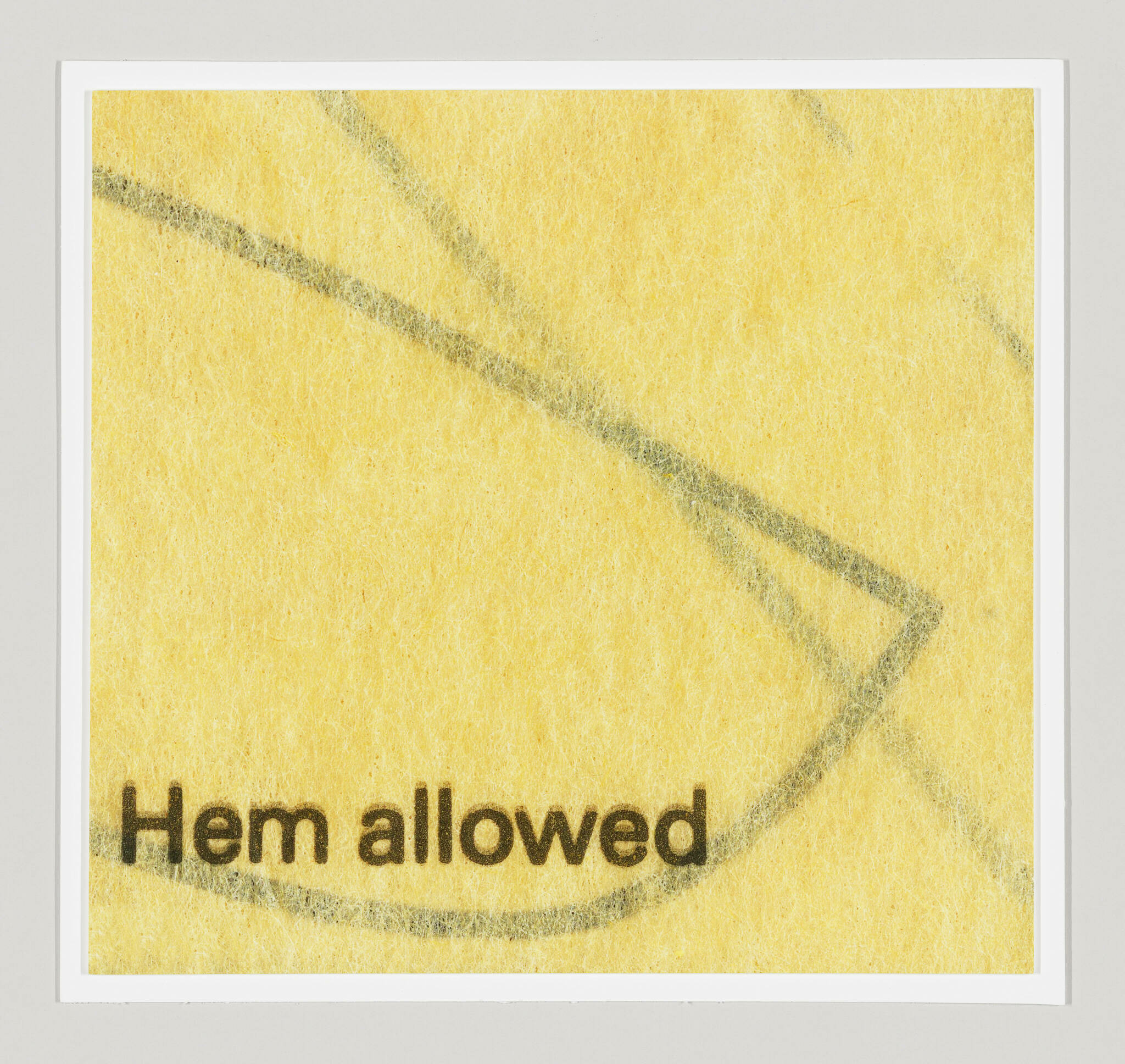 """The words """"Hem allowed"""" at the bottom and black lines tilting downward, crossing, and fading along a yellow background"""