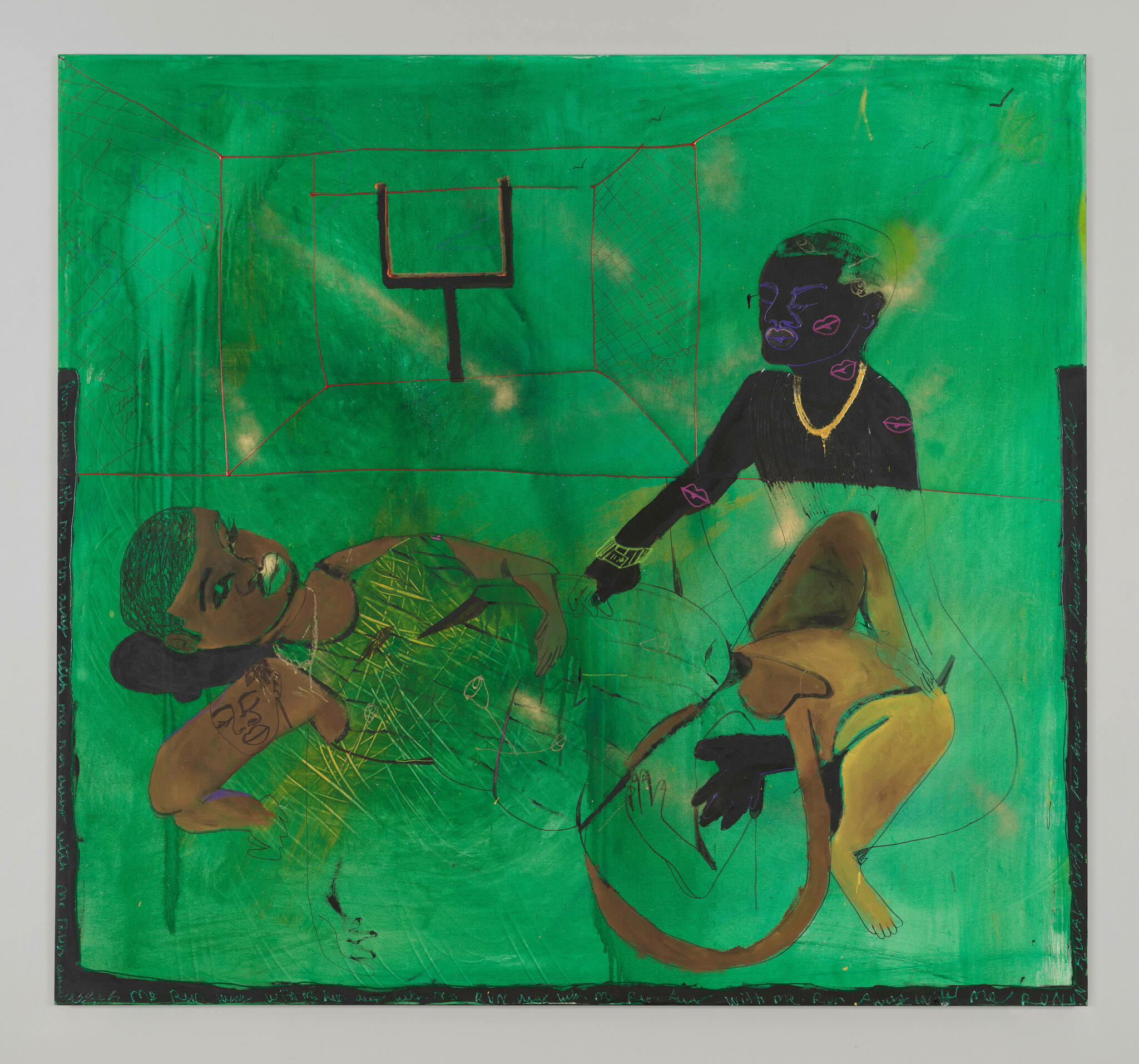 Two short-haired figures with brown and black skin blend together, their nude lower bodies entangled and parts of them vanishing into the green background