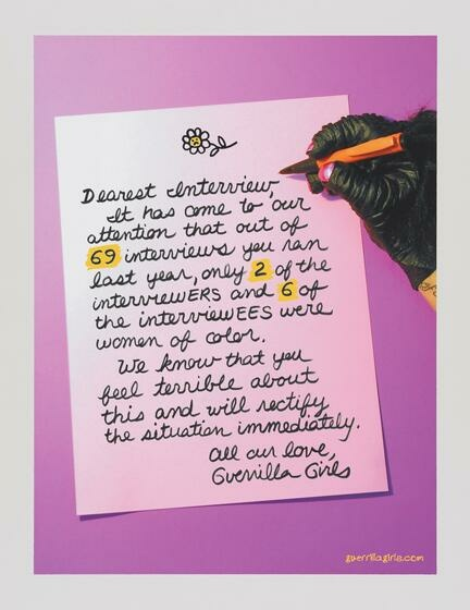 Aganist a pink background, a letter adressed to an interview is being written by a gorilla hand that has pink nailpolish and holding a pen with a fuzzy end