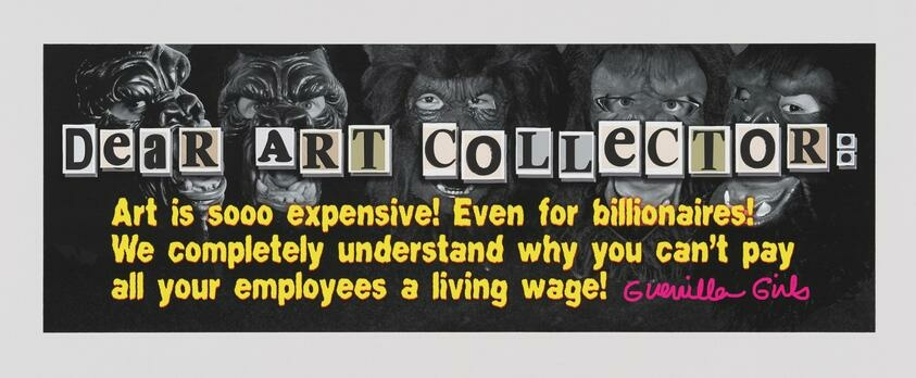"""A letter addressed to the """"art collector"""" aganist a photograph of women wearing gorilla masks"""