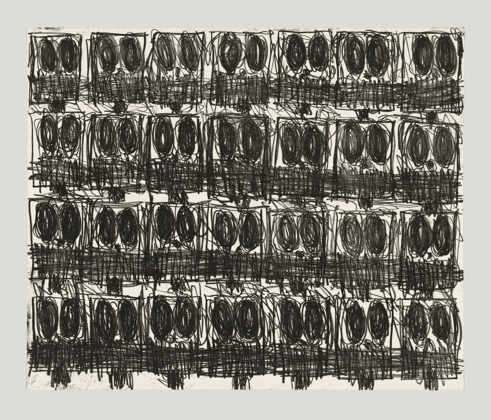 A grid of nearly identical, frenetically scribbled faces fills the paper