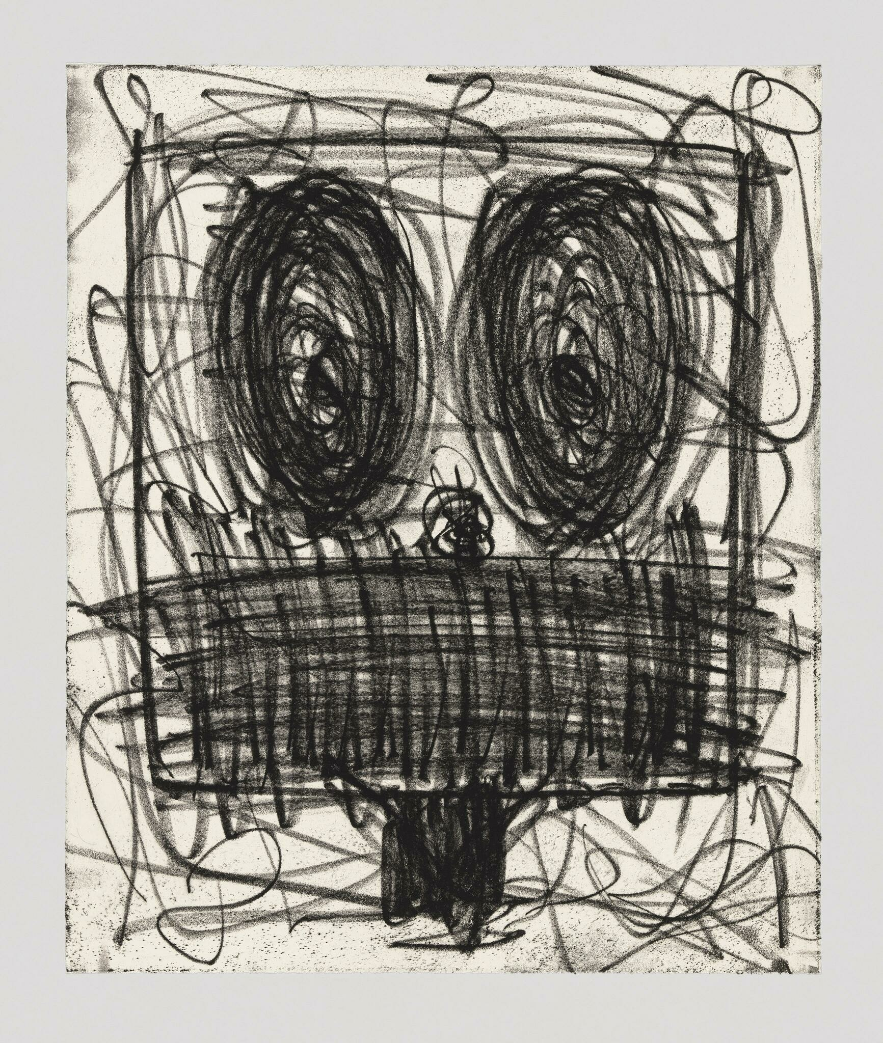 A face with big dark swirls for eyes, and chaotic, scribble-like patterns depicting the mouth.