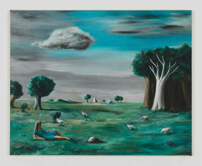 Under a graying sky, a white woman in a blue dress lounges in an open field among scattered trees and pecking birds.