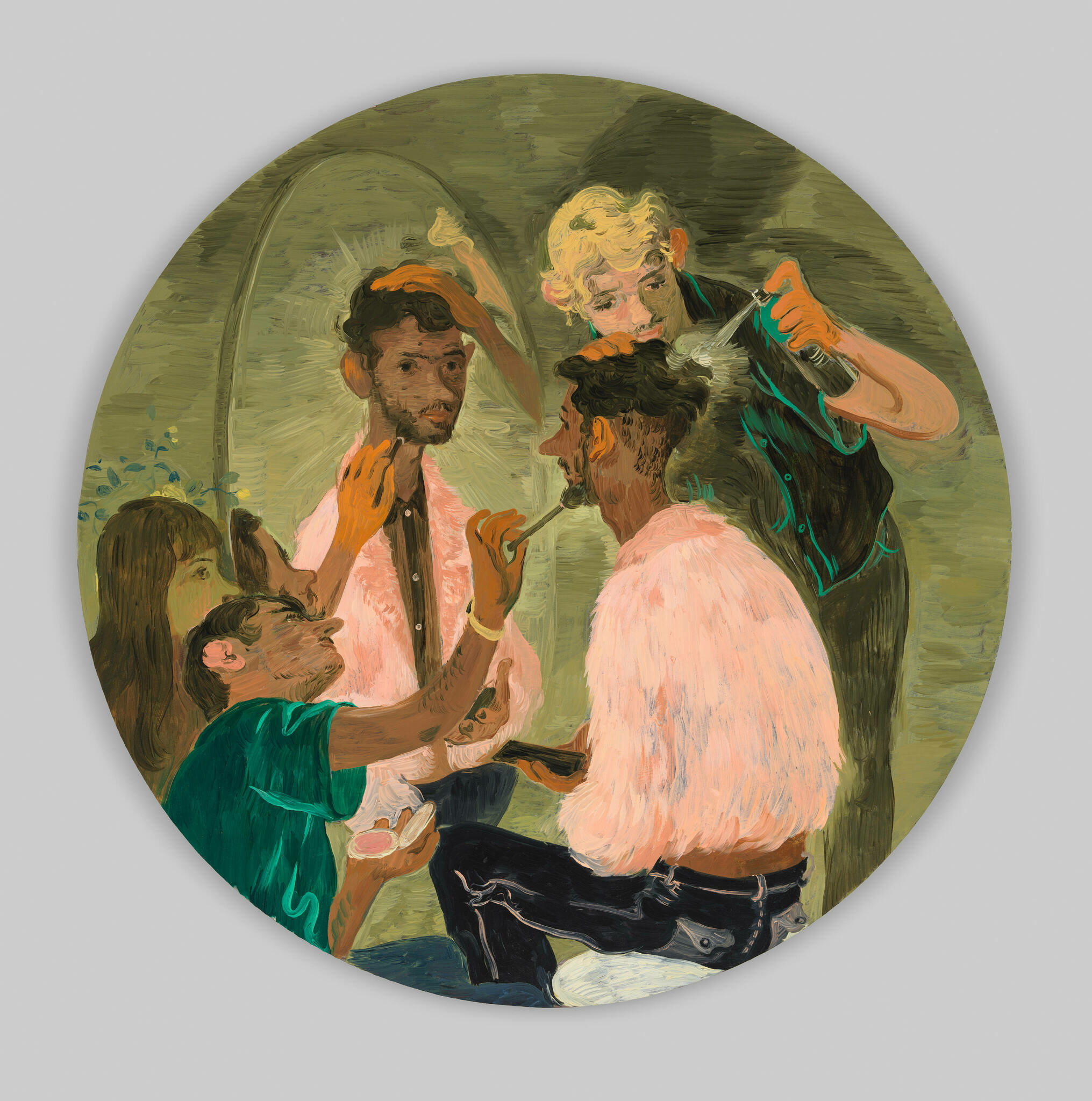 Boyish, short-haired figures gather around a central figure seated and at a mirror. They groom the central figure with hair spray and make-up brushes.