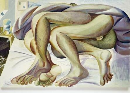 An explicit view of hairy legs tangled in bed with a blanket placed on the upper half of their bodies