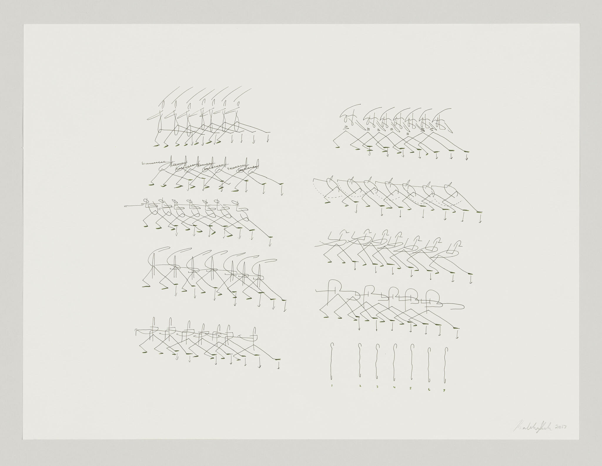 A drawing of nine crews of stick figures dancing and one group of lines atop of dots, evenly arranged in five rows against a white background