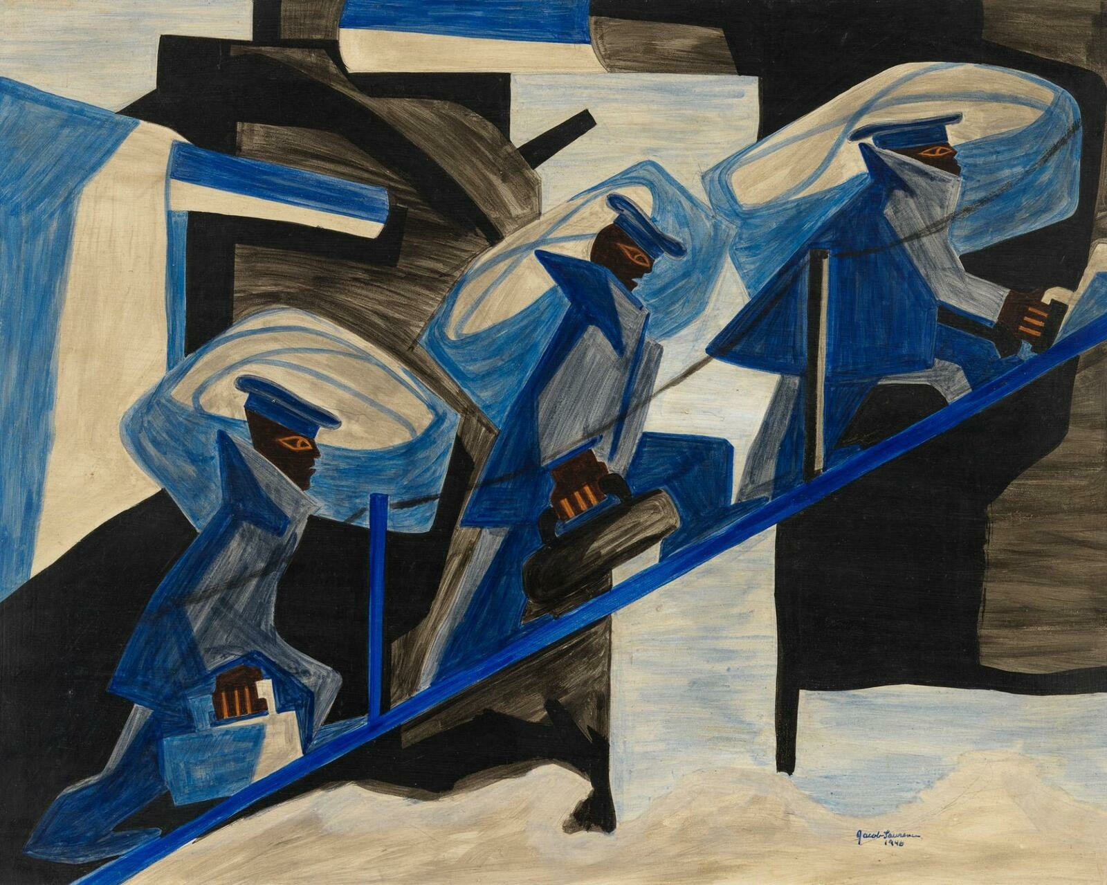 Three Black figures in geometric blue and grey suits and hats carry large sacks over their shoulders and march in unison up a roped-off incline.
