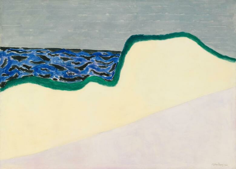 Under a gray sky, a sand dune outlined in emerald green overlooks a sea of blue and black streaks.