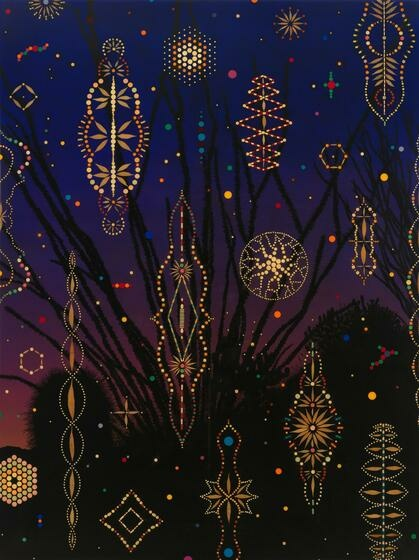 A number of bright, lit up objects shaped like star-like wind mobiles, floating against a dark, cascading evening sky.