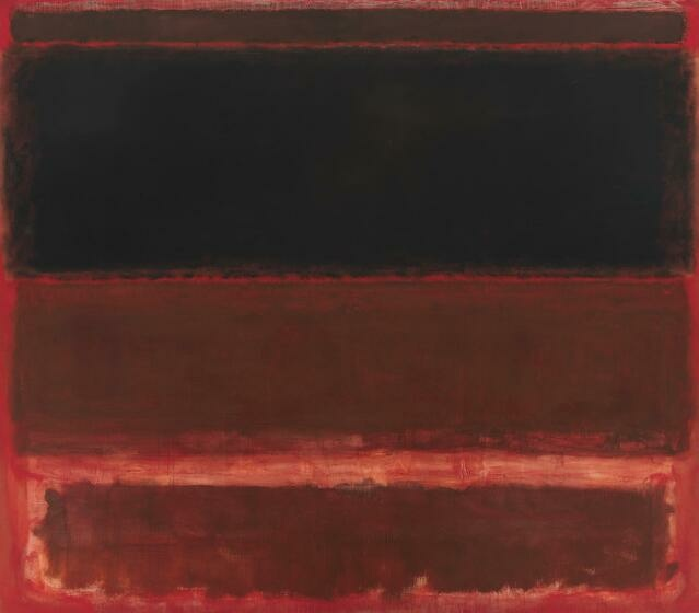 Four horizontal bars, varied in width with soft edges, stack against a deep red background. Three of the bars are a brownish red, while the thickest bar, second from the top, is black.
