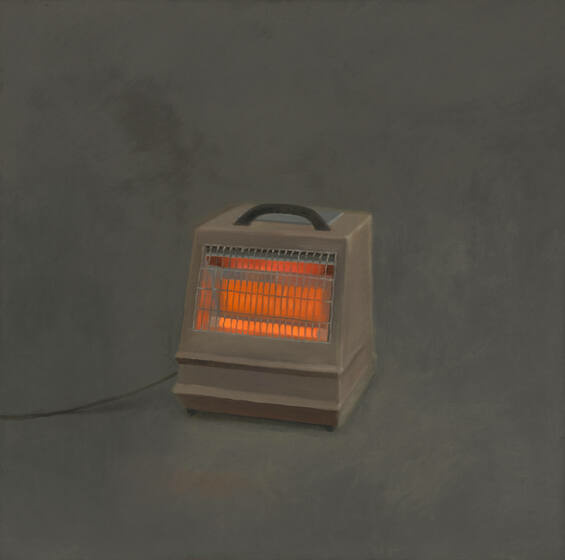 A boxy, hand bag-like heater with a single chord glows orange through its gridded front.