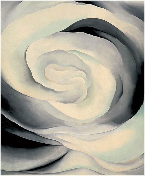 A painting of white and black swirls.