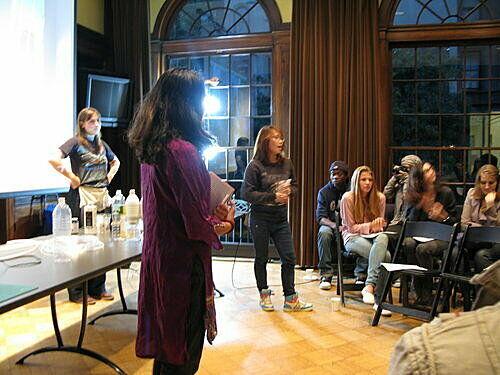 Teens introduce guest speaker.