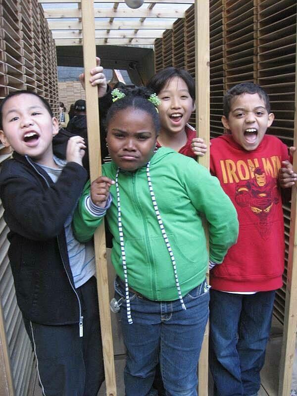 Kids having fun in the art exhibit