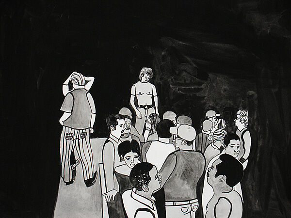 A black and white painting of a people in a group.
