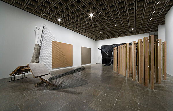 Installation of a sculptures during the Whitney Biennial.