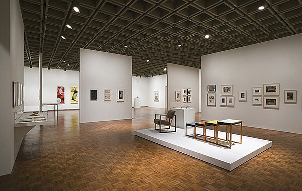 Installation of furniture and art at a Bauhaus exhibit in the Whitney.