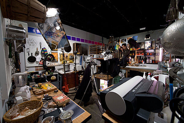 The artist Corin Hewitt in his studio during a residency at the Whitney.