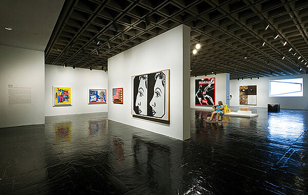 Large artworks in a Whitney Museum gallery.