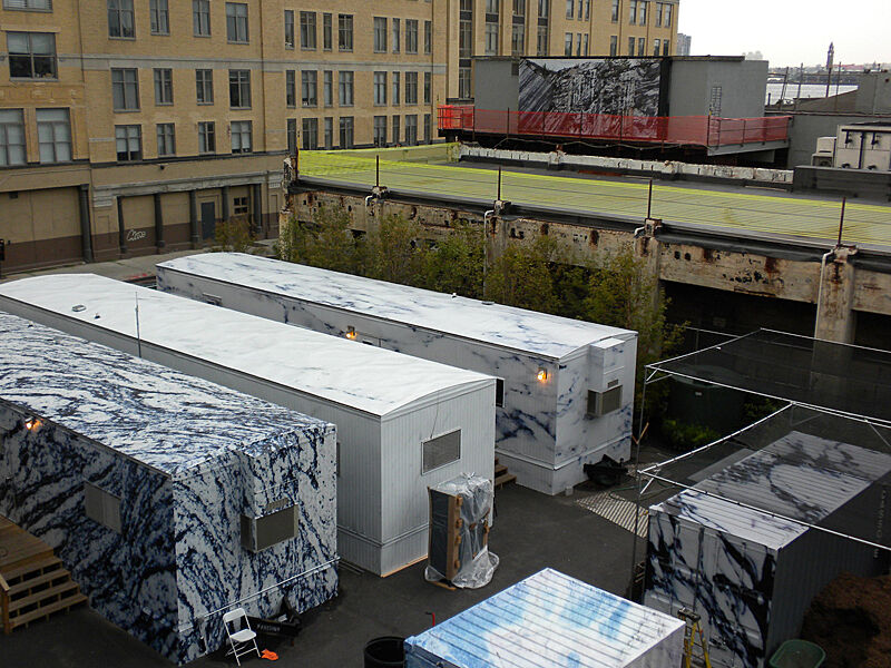 Trailers in an outdoor art installation