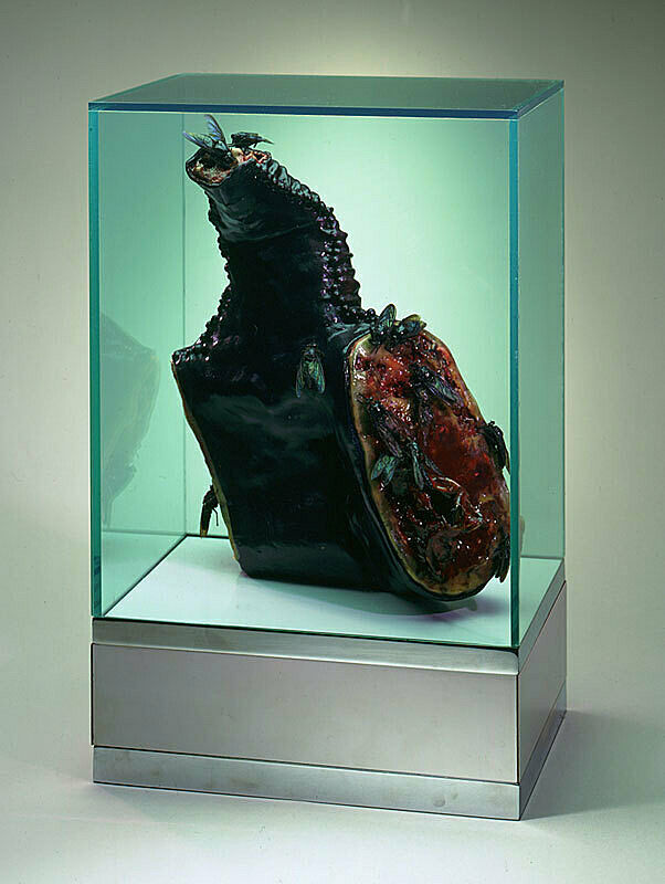 A sculpture of a piece of meat with flies in a glass case.