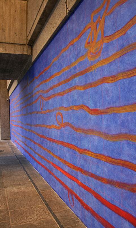 Blue painting on wall with orange horizontal lines.