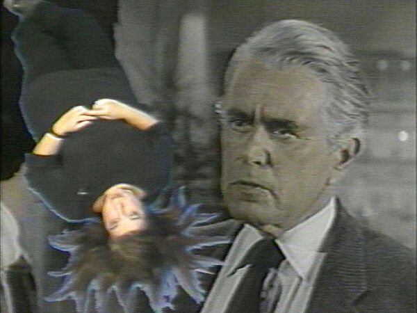 Image of a soap opera star superimposed with an upside down woman.