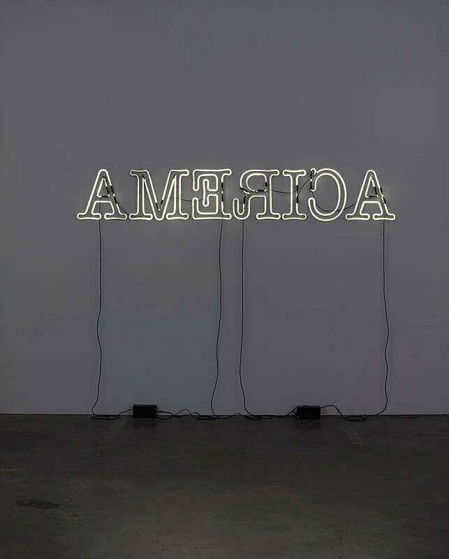 Neon artwork with the words America backwards.