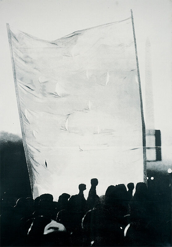 A silkscreen print of fists raised in the air in front of a white banner.