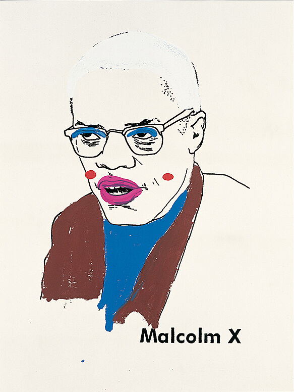 A painting of Malcolm X distorted with clownish makeup.