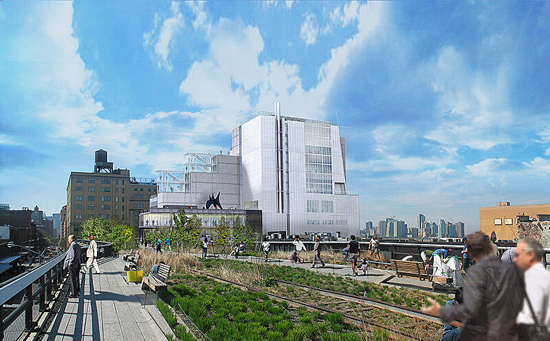Architectural rendering of the new Whitney Museum from the High Line.