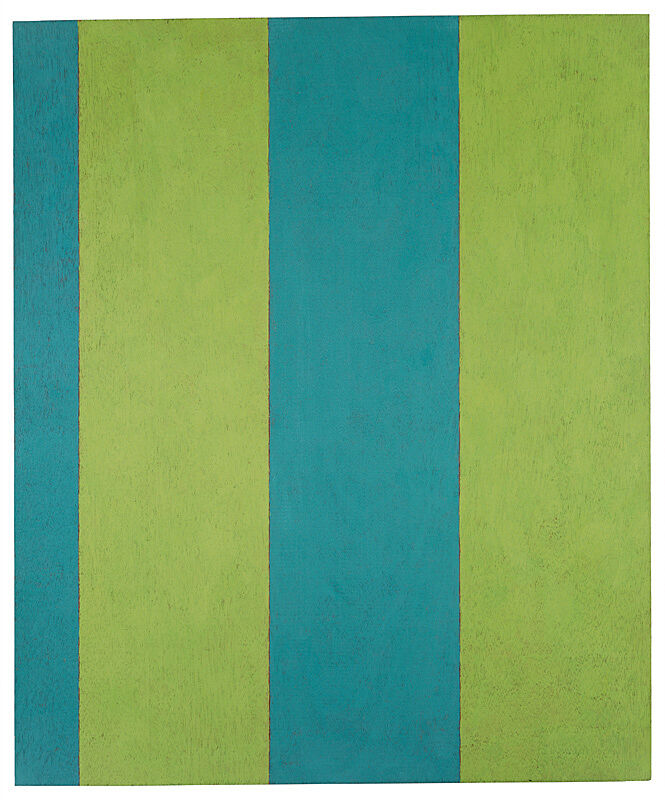 Blue and green stripes painted on wood.